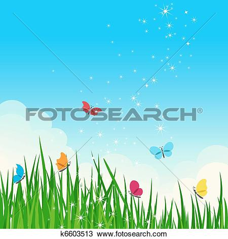 Clipart of Beautiful shiny summer meadow. k6603513.