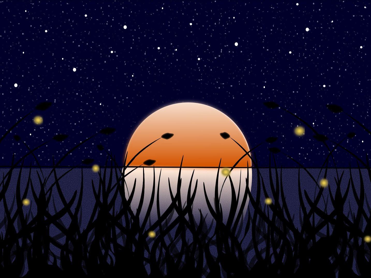 fireflies, clipart.