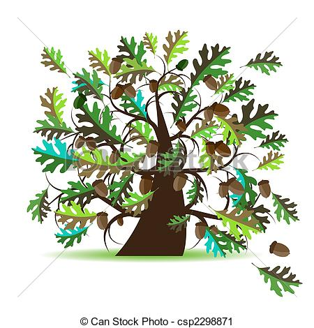 Vector Clip Art of Oak tree, summer csp2298871.