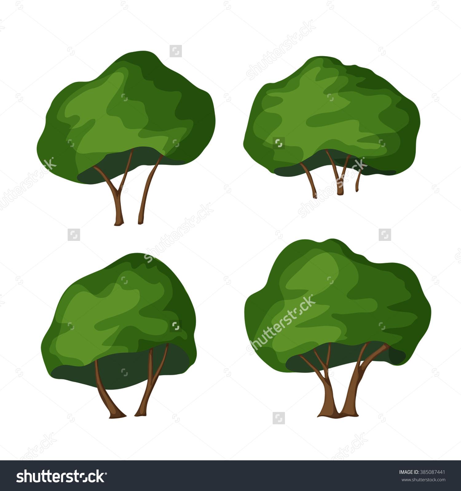 Oak Tree. Oak Tree Vector Illustration. Cartoon Oak. Landscaping.