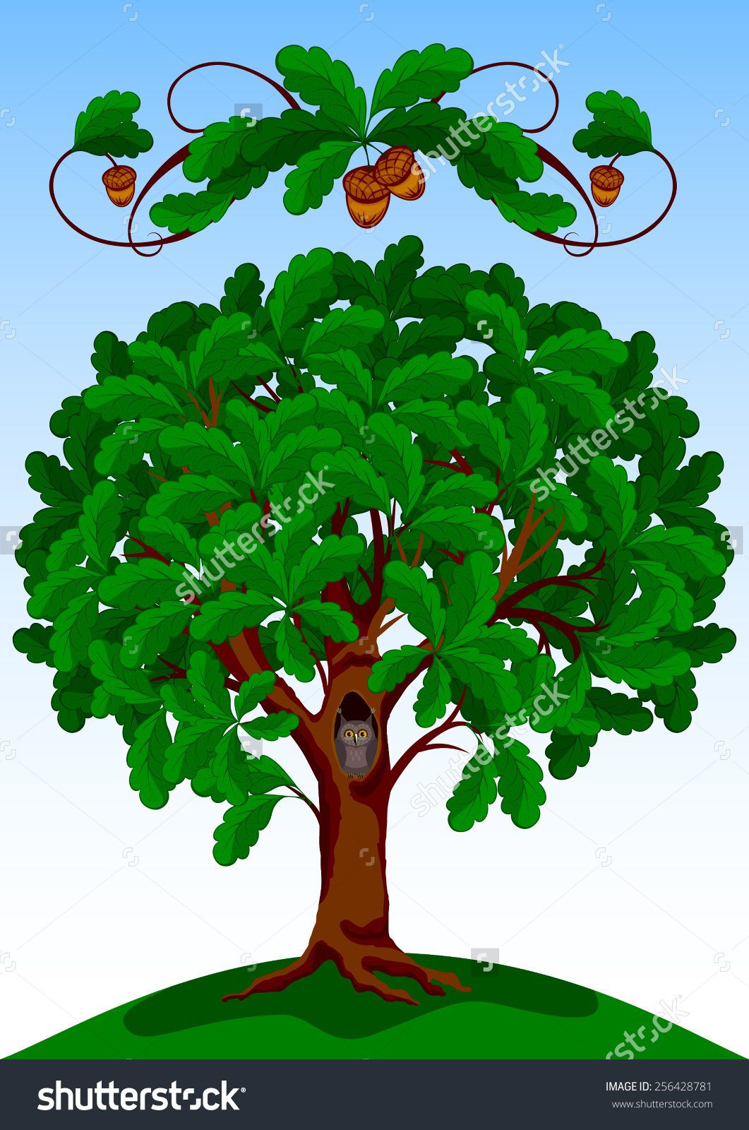 Summer Oak Stock Vector 256428781.