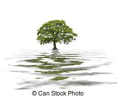 Clip Art of Summer Oak Tree Abstract.
