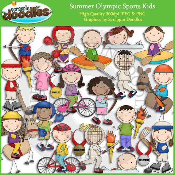 Summer Olympic Sports Kids Clip Art.
