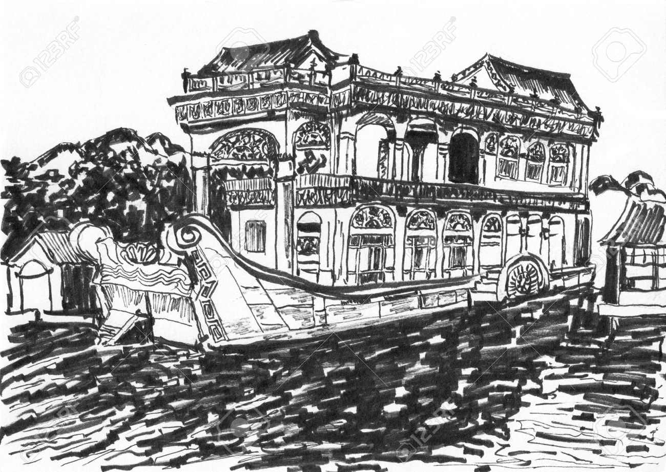 The Summer Palace Stone Boat Sketch,on Paper Stock Photo, Picture.