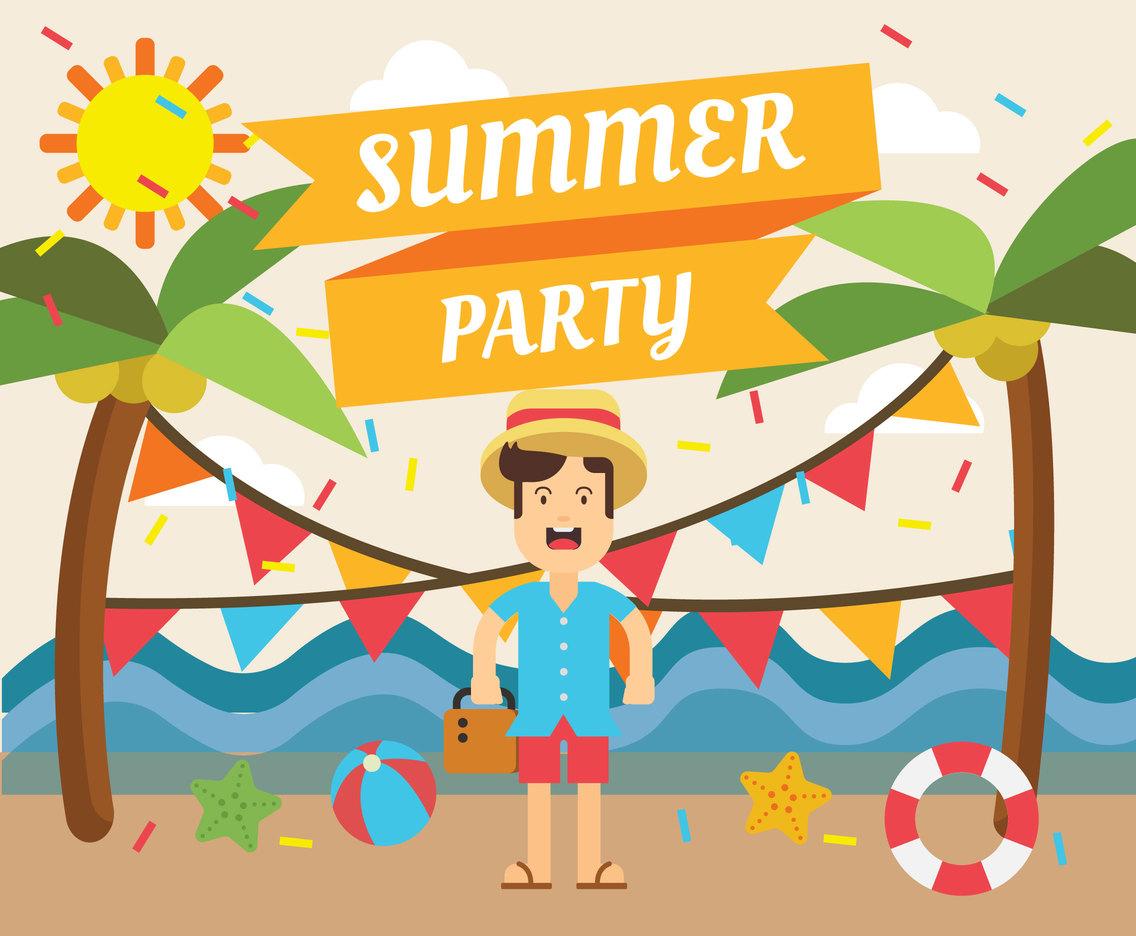 Summer Party Illustration Free Vector.