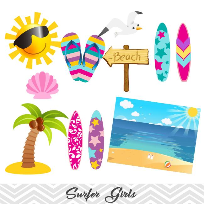 Girls Surfing Digital Clip Art, Surfer Girls Clipart.