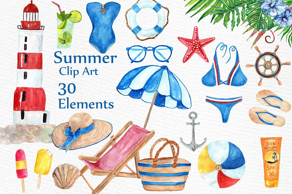 Watercolor summer clipart.