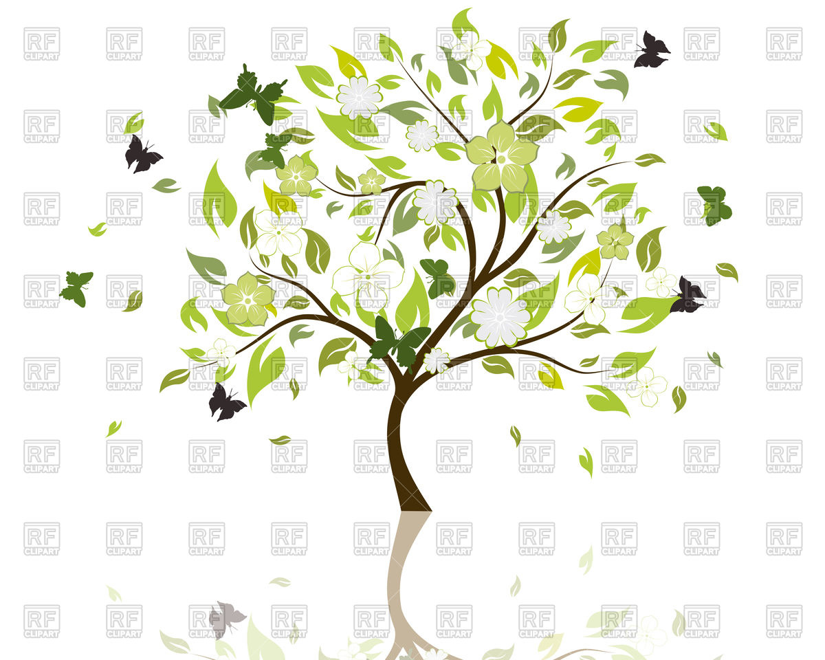 Beautiful summer tree with blossom of flowers Vector Image #83593.