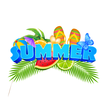 Summer Elements Illustration Badge With Fresh Fruits, Summer.