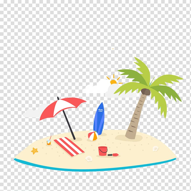 Sunny Beach Summer vacation, beach transparent background.