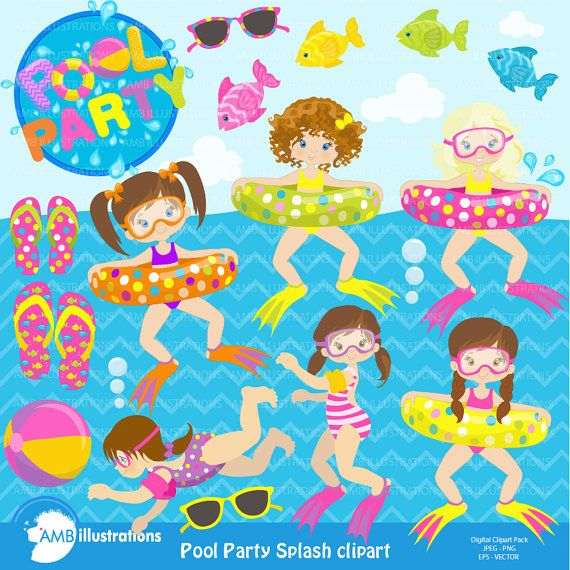 Girl Pool Party Clipart, Beach party, Birthday Party Clipart.