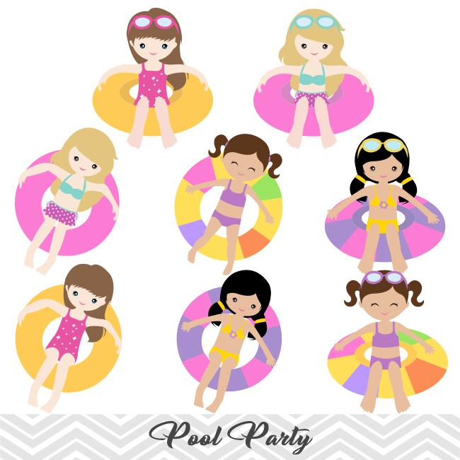 Girls Pool Party Clip Art, Girls Swim Party Clipart, Summer Pool Party  Clipart, 00197.