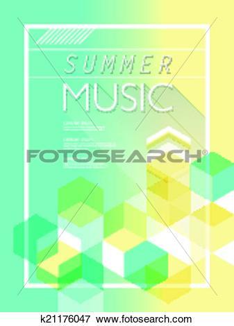 Clip Art of summer music poster k21176047.