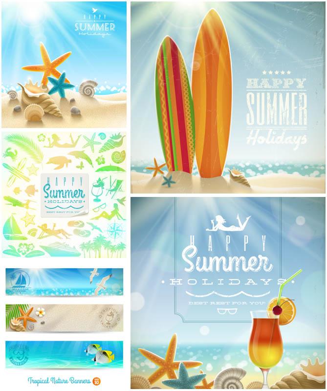 Summer backgrounds vector clip art.