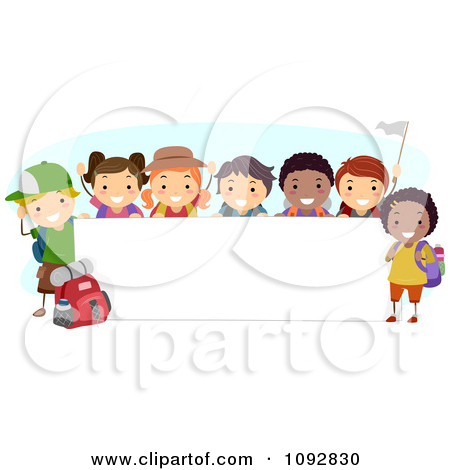 Happy Diverse Summer Camp Children By A Blank Banner Posters, Art.