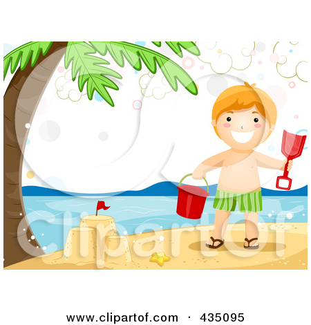 Summer Boy Making A Sand Castle On A Beach Posters, Art Prints by.