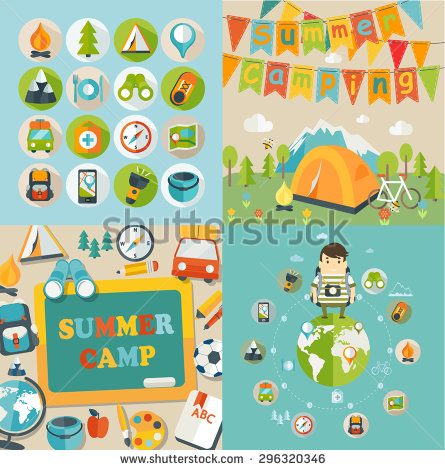 Summer Camp Poster Stock Vectors & Vector Clip Art.