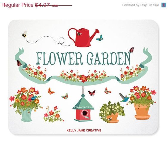 Flower Garden Bumble Bees, Hummingbird, Butterflies, Birdhouse.