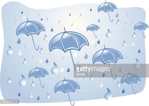 Umbrellas under a summer rain Clipart Image.