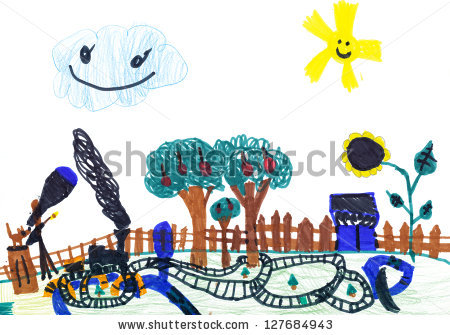 Small Railway On A Summer Residence. Child'S Drawing Stock Photo.