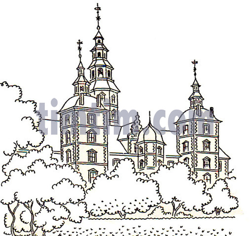 Free drawing of Rosenborg Castle BW from the category History.