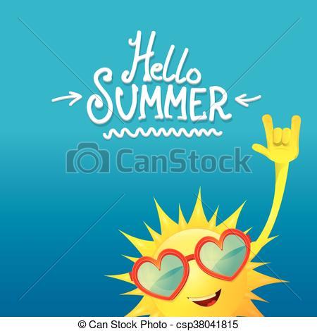 Vector Clip Art of hello summer rock n roll poster. summer party.