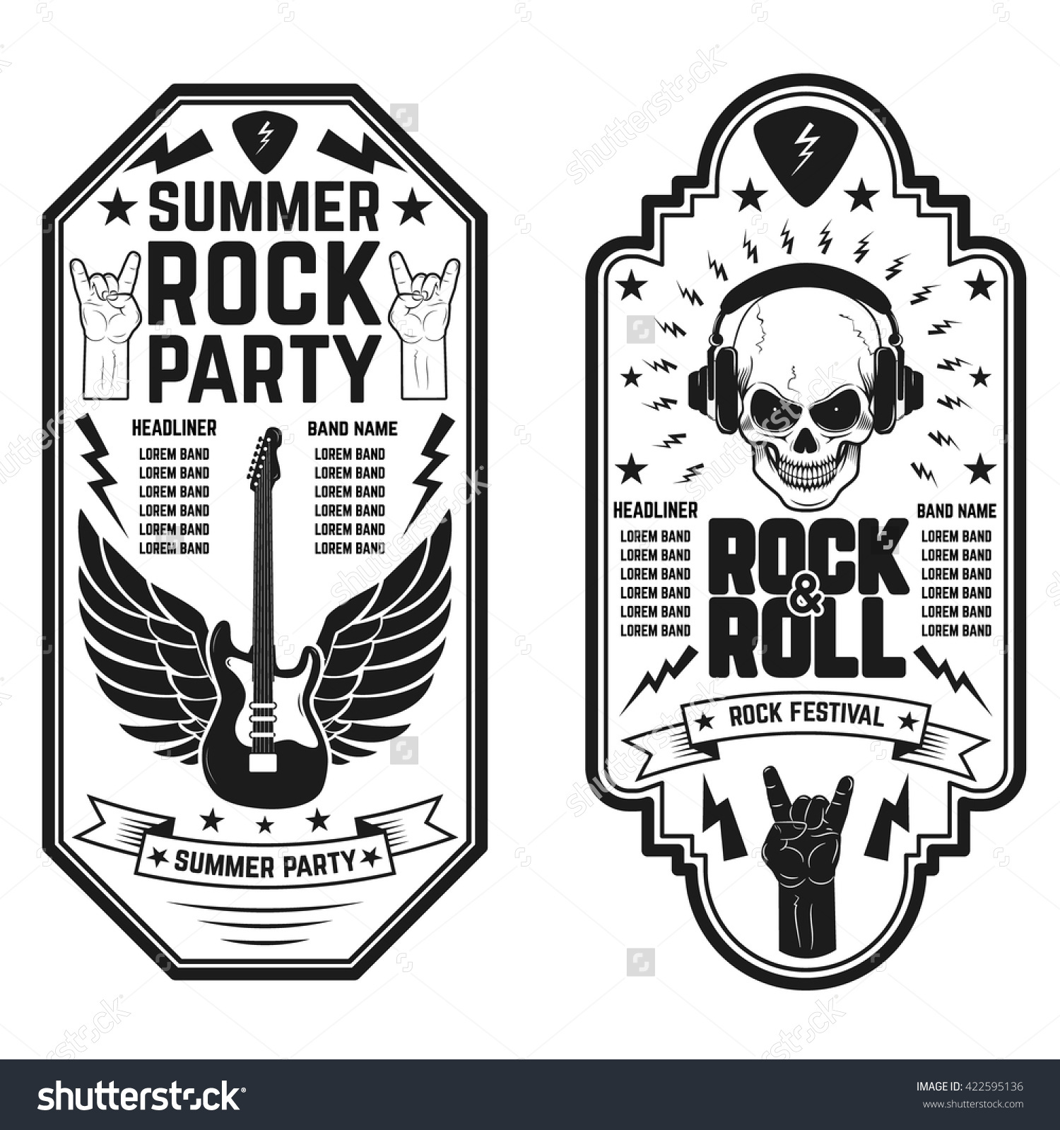 Rock And Roll Concert Flyer Templates. Summer Rock And Roll Party.