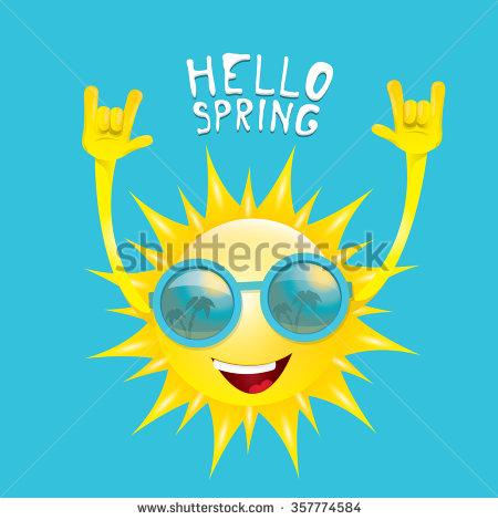 Sun Hand Rock N Roll Icon Vector Illustration. Spring Or Summer.