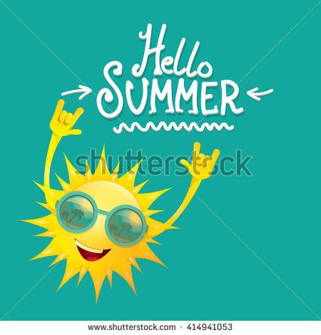 Hello Summer Rock N Roll Poster. Summer Party Design Template.