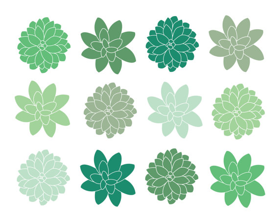60% OFF SALE Clipart Digital Clip Art Succulents Clipart.