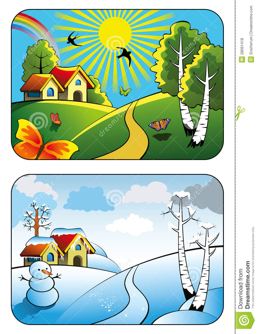 Winter To Summer Clipart.