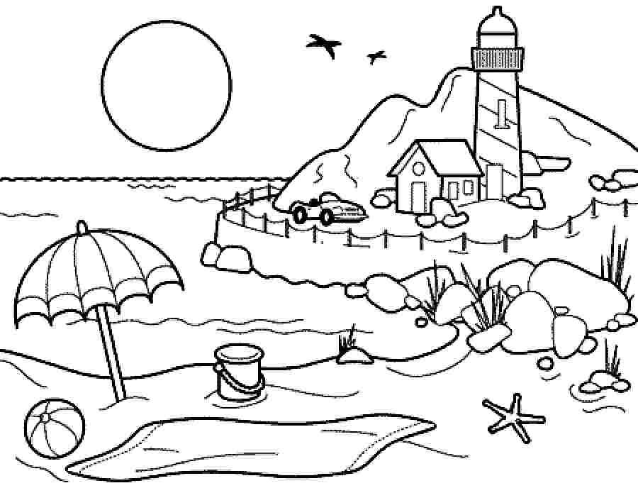 Coloring Pages summer season pictures for kids drawing: Free.