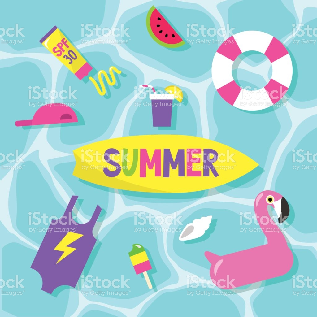 Summer Set Pool Party Flat Editable Vector Clip Art stock vector.