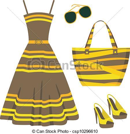 Vector Clip Art of Summer set of clothes.
