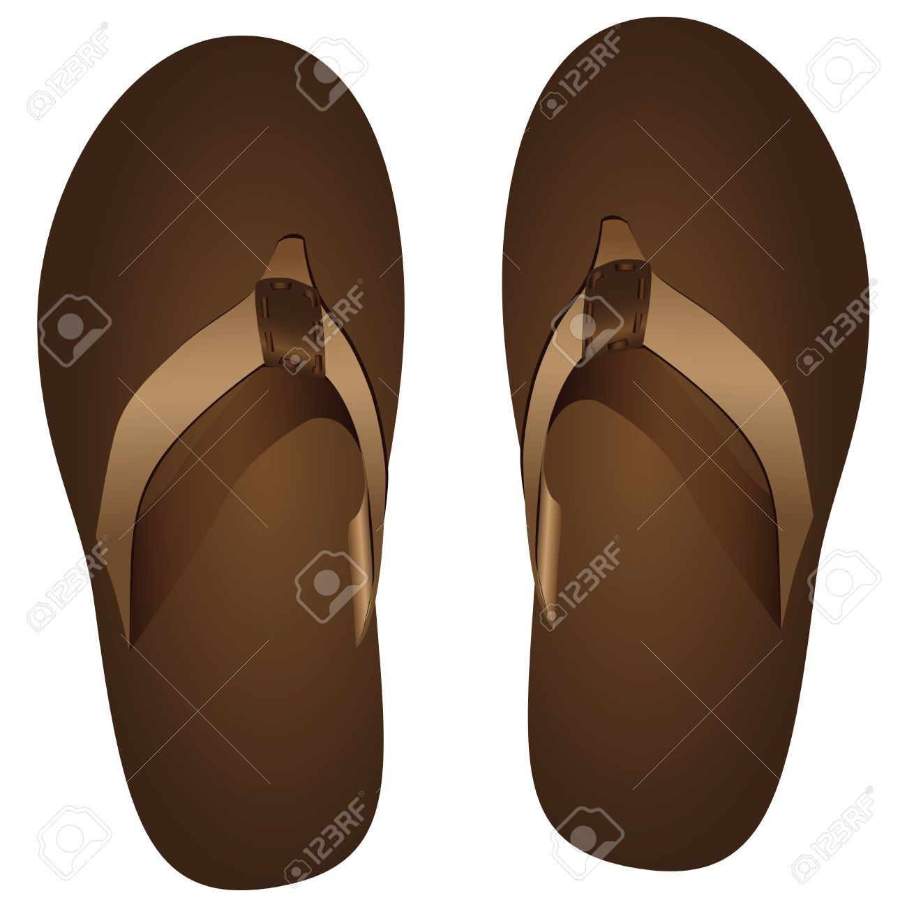 Summer Flip Flop. Water Shoes With Jumpers For The Toes. Vector.
