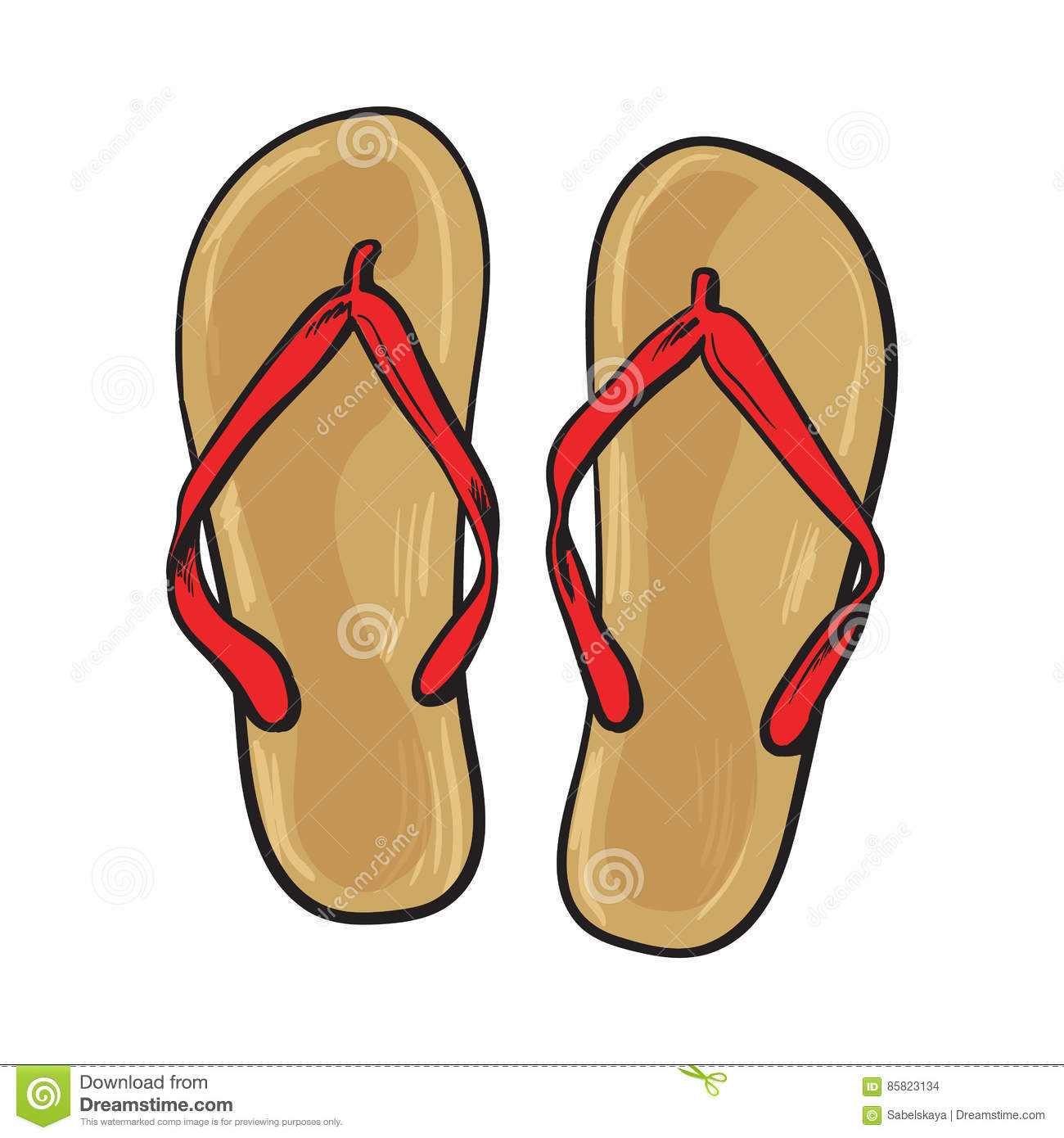 Pair Of Flip Flops, Summer Time Vacation Attribute, Slippers.