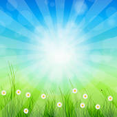 Clipart of Summer Abstract Background with grass and tulips.