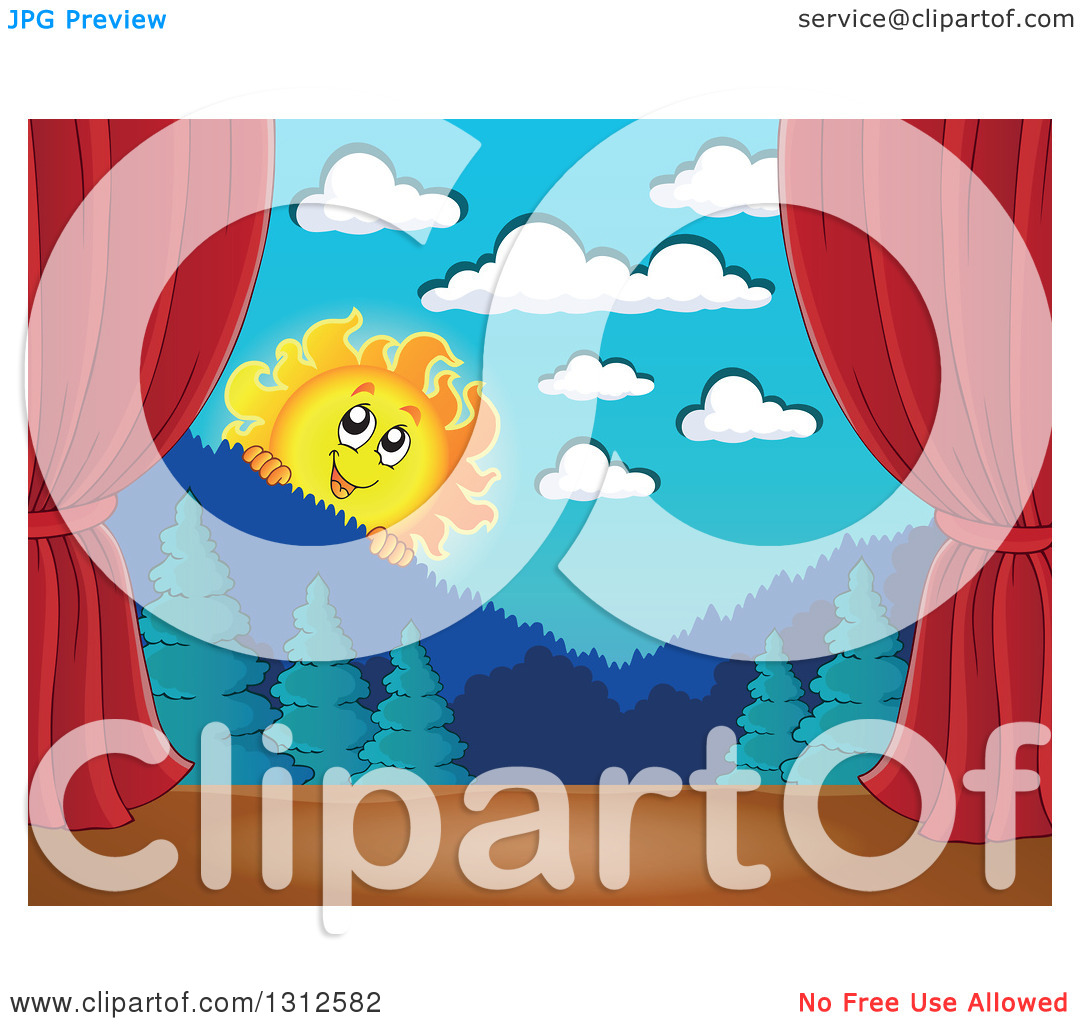 Clipart of a Happy Summer Sun Looking over Mountains and a Forest.