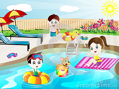 Kid Swimming, Cdr Vector Royalty Free Stock Images.