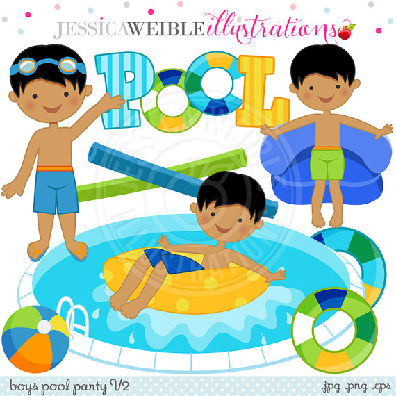 Boys Pool Party V2 Cute Digital Clip Art.
