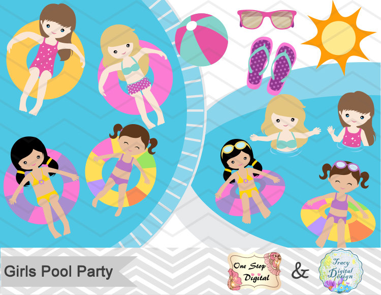Digital Girl Clipart, Girls Pool Party Clipart, Girls Swim Party.