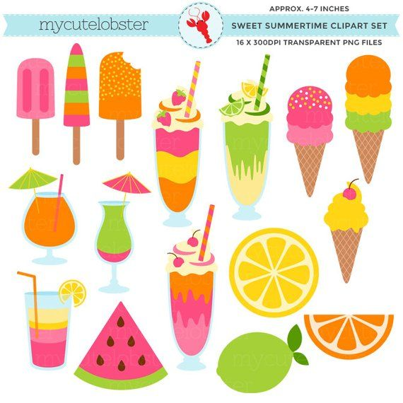 Sweet Summertime Clipart Set.