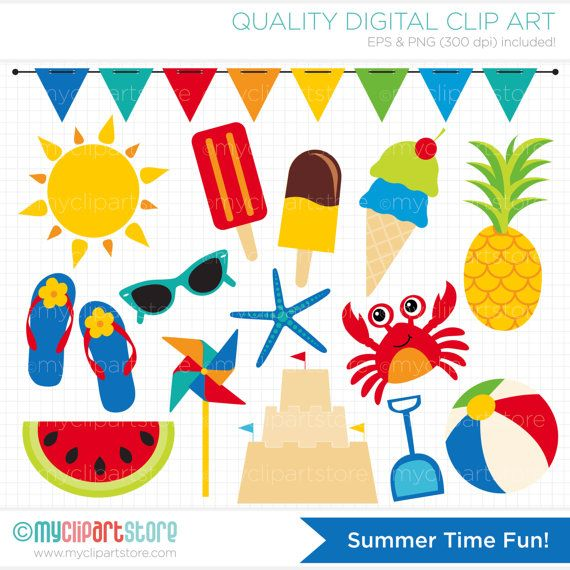 SUMMER TIME FUN Vector Clip Art.
