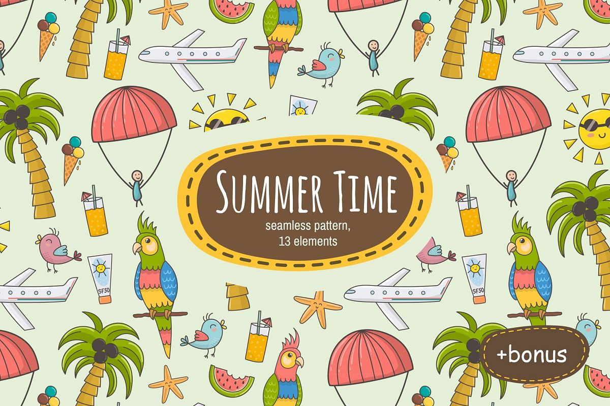 Summer Time: pattern & clipart.