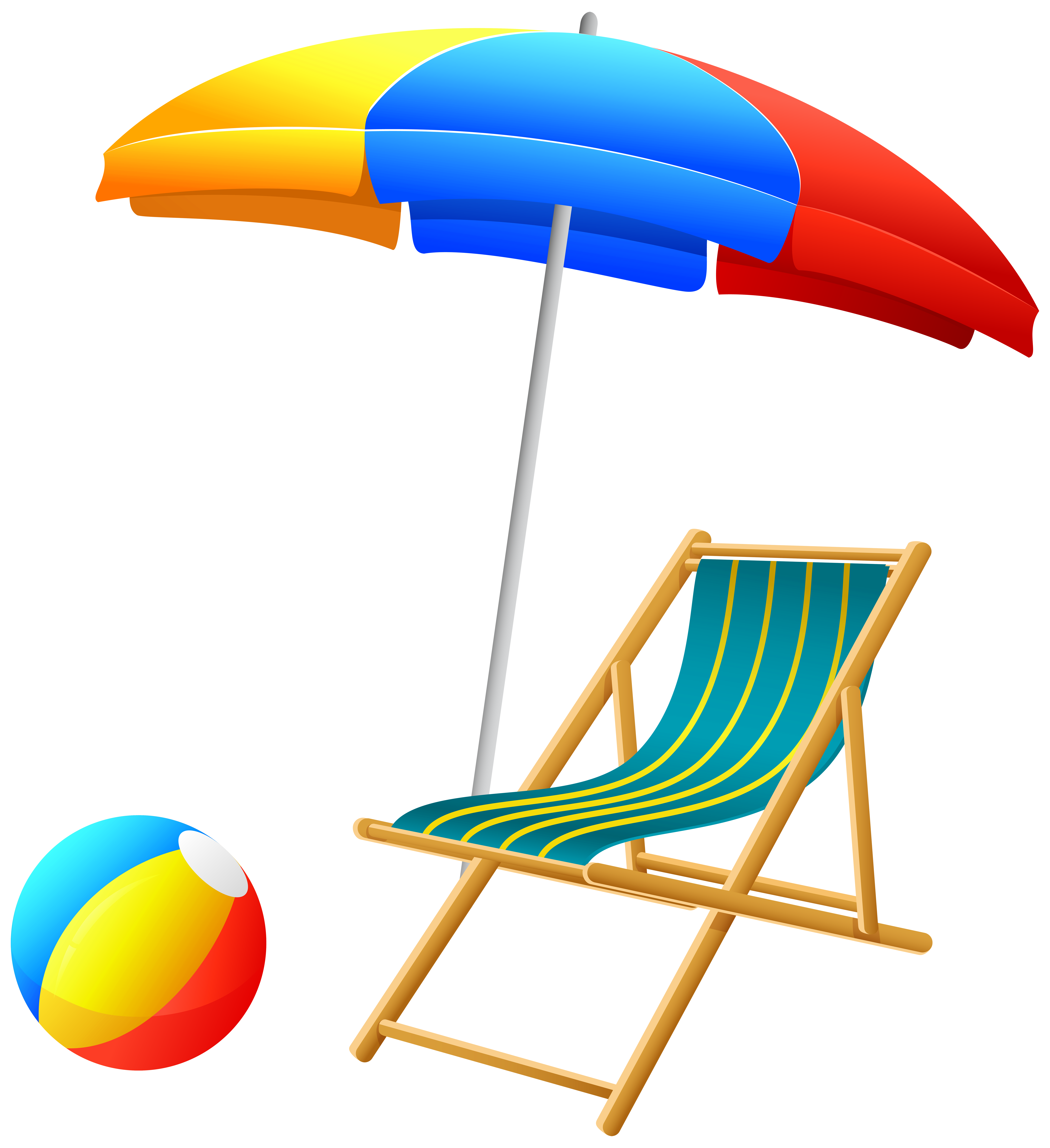 Beach Umbrella with Chair and Ball PNG Clip Art.