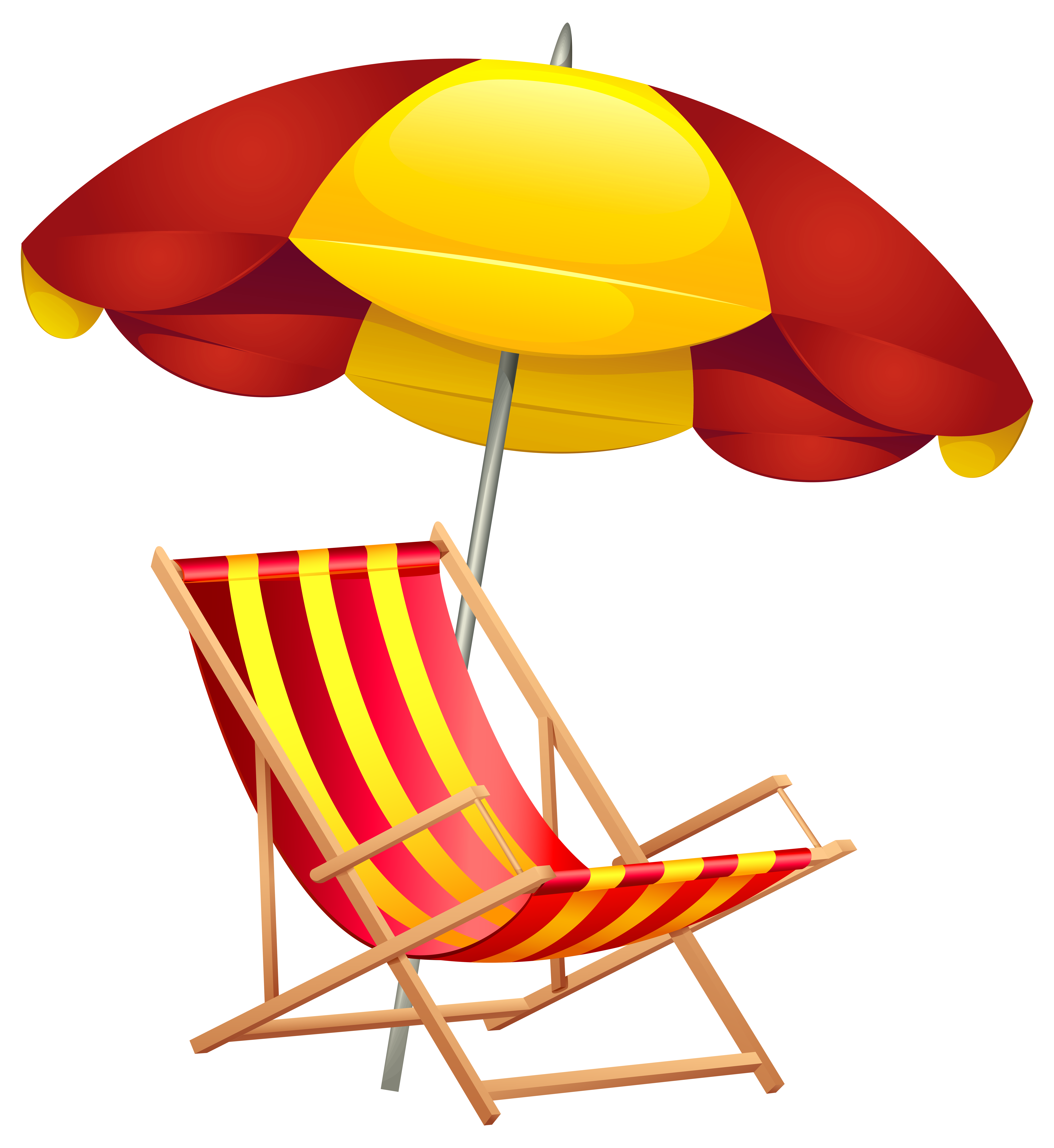 Beach Chair and Umbrella PNG Clip Art Image.