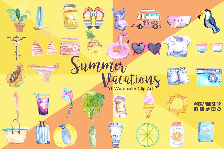 Summer vacations clip art.