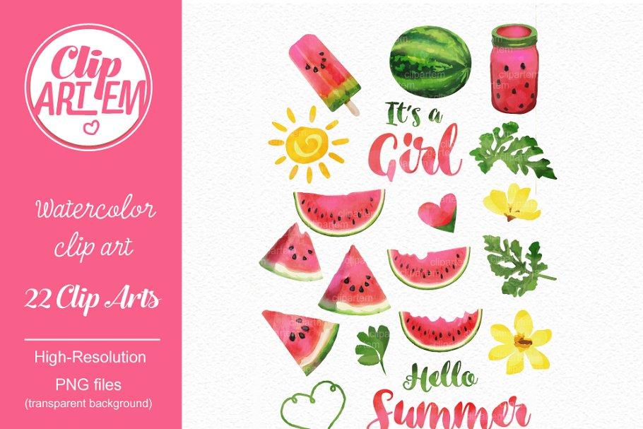 Summer watermelon girl clipart 3da.