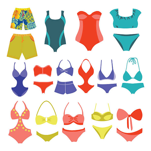 Vector fashion Collection Swimming suits Summer wear.