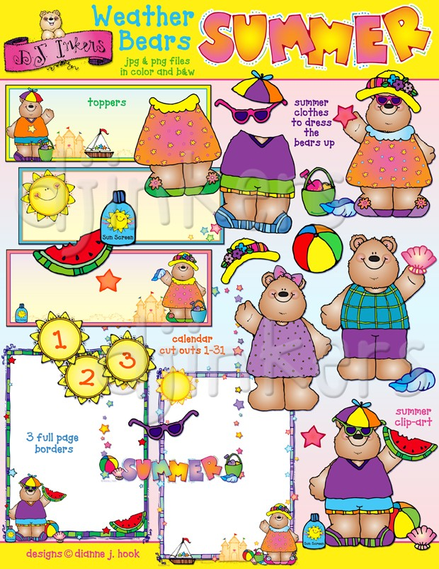 Summer Weather Bears clip art created by DJ Inkers.
